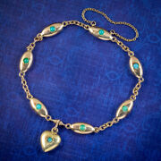 Antique Victorian Turquoise Heart Bracelet 15ct Gold Circa 1890 Boxed
