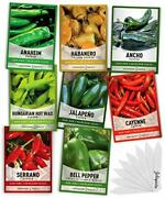 Pepper Seeds For Planting 8 Varieties Pack Jalapeno Habanero Bell Pepper Caye...