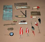 Vintage Fishing Items Found In Old Tackle Box, Lures, Hooks, Knife, Line, Tape