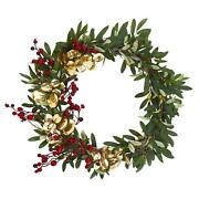 21andrdquo Olive Berries And Gold Eucalyptus Artificial Wreath