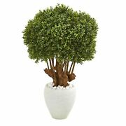 41andrdquo Boxwood Artificial Topiary Tree In White Planter Indoor/outdoor