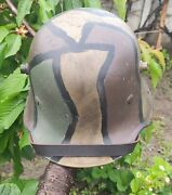 Ww1 German M-16 Helmet. Stahlhelm Camo With Liner And Chinstrap