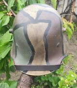 Ww1 German M-16 Helmet. Stahlhelm Camo, With Liner And Chinstrap