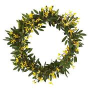 20andrdquo Olive And Forsythia Artificial Wreath