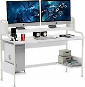 Tribesigns White Computer Desk W/ Monitor Riser And Ample Storage Bottom Shelves