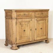 Antique Bleached Oak French Sideboard With Carved And Inlay Detail