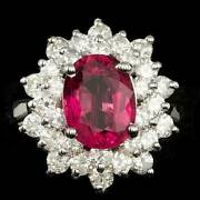 Real Solid 14k White Gold 3ct Oval Cut Natural Tourmaline Diamond Ring