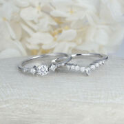 Real Solid 14k White Gold 1.9 Ct Round Cut Natural Diamond Wedding Ring