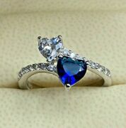 Real Solid 14k White Gold 1ct Heart Cut Natural Sapphire Diamond Ring