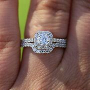 Real Solid 14k White Gold 1.29 Ct Round Cut Natural Diamond Wedding Ring