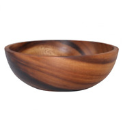 Household Round Wooden Fruit Salad Bowl Durable Dinnerware Basin Container Use C