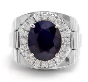 Solid 14k White Gold Igi Certified 3.6ct Natural Diamond And Sapphire Menand039s Ring