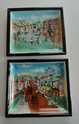 2 Vtg Mcm Modern Chase Japan Ceramic Painted Circus Wall Plaques Erich Stauffer