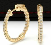 Real Solid 14k Yellow Gold 1.5ct Round Cut Natural Diamond Hoop Earrings