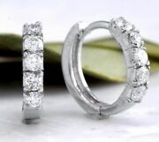 Real Solid 14k White Gold 0.3ct Round Cut Natural Diamond Hoop Earrings