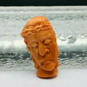 Natural Coral Hand Carved Face Width 20mm Length 38mm Height 7mm For Pendant