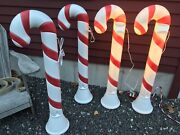 Blow Mold Christmas Candy Cane Decorations New Stock 40andrdquo Lot Of 4