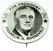 Rare 2.25 V Victory Fdr Franklin D. Roosevelt Campaign Pin Pinback Button Ww Ii