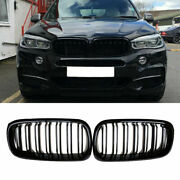 For Bmw F15 X5/f16 X6 2014-2016 Glossy Black Front Kidney Grille Grill Dual Slat