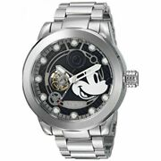 Disney Mickey Mouse Watch Black X Silver Around Box Limited Edition Rare