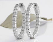 Real Solid 14k White Gold 1.08.ct Round Cut Natural Diamond Hoop Earrings