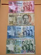 Ghana 1 2 5 And 10 Cedis Current Circulated Paper Money - Dated 2015