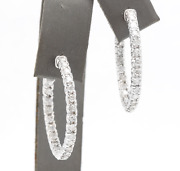 Real Solid 14k White Gold 1.44ct Round Cut Natural Diamond Hoop Earrings