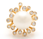 Real Solid 14k Yellow Gold 1.35ct Round Cut Natural South Sea Pearl And Diamond
