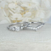 Real Solid 14k White Gold 0.5ct 5mm Round Natural Diamond Wedding 2pcs Ring