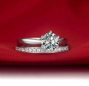 Real Solid 14k White Gold 0.5ct 5mm Round Natural Diamond Wedding 2 Pcs Ring