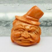 Natural Coral Hand Carved Face Width 20mm Length 25mm Height 9mm For Pendant