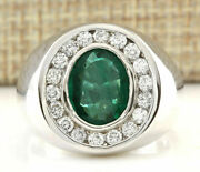 Mens 9.54ct Oval Cut Natural Emerald Real Solid 14k White Gold Diamond Ring