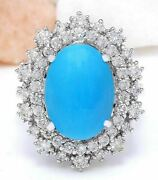 7.10 Ct Oval Cut Natural Turquoise Real Solid 14k White Gold Diamond Ring