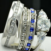 His Her Round Cut Diamonds Wedding Bands Ring Trio Bridal Set 14k White Gold Ove