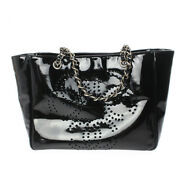 Punching Triple Coco Chain Tote Shoulder Bag Enamel Patent Leather Black