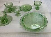 Cameo Ballerina Depression Glass Set - Cake Plate And 4 Sherbet Cups With Saucer