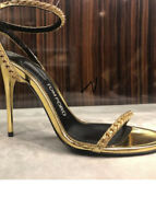 Tom Ford Nib 7500. Jewel Hh Open Toe Ankle Strap Gold Shoes 6.5