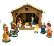 Vintage Nativity Stable Scene With Chalkware Figures Christmas Decor