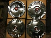 1955, 1956 Ford And Thunderbird Set Of 4 Nos 15 Full Wheel Covers, B5a 1130-c