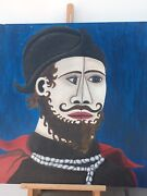 Original John Coble Oil Painting On Board Cubist Portrait Abstract Signed