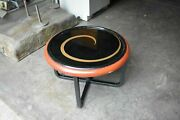 Vtg Atq Side Coffee Table Reverse Painted Glass Art Deco 40and039s Mcm