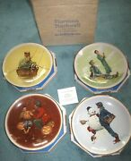 Set Norman Rockwell Four Seasons Plates 1976 Ltd Ed Mint In Boxes Gorham Made Us