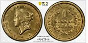 1849 Liberty G1 Pcgs Au58 Closed Wreath One Dollar 1st Year Gold Rush Type Coin