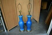Pair Big Blue Bitossi Italian Pottery Lamp Mcm Style 60and039s 50and039s