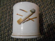 Old Vintage Stone China W/ Bow And Arrow Sign Cigarette Cup Mug Matches Tobacco
