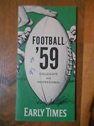 Old Vintage 1959 Football Collegiate Professional Nfl Early Times Schedule Info