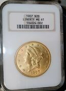 1907 20 Gold Liberty Double Eagle Ngc Ms61 Fatty Holder Pre- Star Undergrade