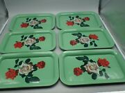 6 Vintage Metal Serving Trays Lap Patio Tray Green W/ Red And White Roses 14 X 9