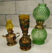 Vintage Oil Lamps Miniature Lot Of 3 Green Hobnob Stained Glass And Brass Chimneys