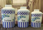 Charming 🔵⚪ Ceramic Canisters French Country Kitchen Storage Coffee Tea Sugar